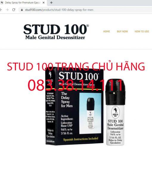 Thuốc xịt Stud 100 trên trang chủ của hãng